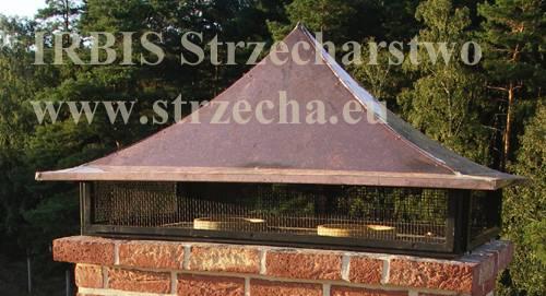 IRBIS Strzecharstwo - Siatka przeciwiskrowa jako element daszka kominowego. Takie rozwiązanie stosujemy standardowo przy pokryciu dachu strzechą trzcinową, ale również słomianą. Strzecha wymaga nieszablonowego podejścia, ale w zamian daje nam to, czego nie da żadne inne pokrycie!
